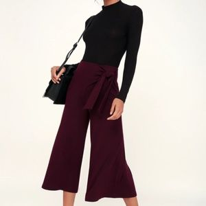 NWT Lush Burgundy Ribbed Tie-Front Wide Pants